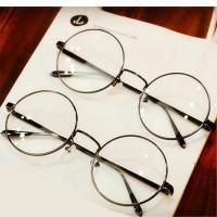 Jual Kacamata Bulat Korea Wanita / Pria besi Warna Hitam Murah
