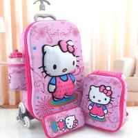 KIDS TROLLEY BAG TAS ANAK IMPORT 3 RODA 3D 4IN1 HK HELLO KITTY TIMBUL