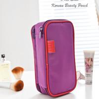 Dual Side Korean Beauty Pouch DARK PURPLE (Tas kosmetik & aksesoris)