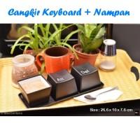 Set Cangkir Keyboard + Nampan (1 set isi 3 cangkir)