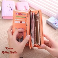 Korean Ribbon Wallet PEACH (Dompet banyak sekat, Korean style)