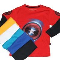 Jual Kaos Anak printing tangan panjang Captain America Murah