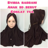 jilbab hijab kerudung syiria rabbani anak sd serut coklat tua sekolah