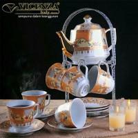 Perlengkapan Minum Teh 15 Buah Vicenza Super Mewah Motif Camelia Wit