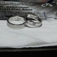 cincin kawin nikah tunangan couple emas putih 75%(18k)&palladium 50%