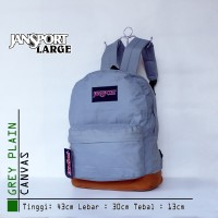Tas Pria Wanita Ransel Backpack Jansport Large Canvas Grey Plain 789