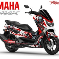 Decal stiker Yamaha Nmax White skull red