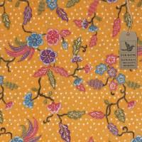 Kain Batik Motif Cantik 3 Bunga Warna Dasar (Kuning) Harga Grosir