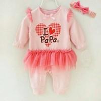 harga Romper Tutu Anak Bayi Perempuan Import Bandana Peach I Love Papa Tokopedia.com