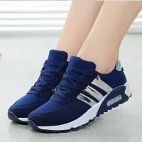 Sepatu Kets Sneaker Cewek Wanita Korea Adidas Biru Jogging Running