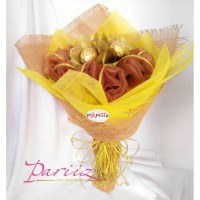 Pariiz Buket mawar emas+ferrero rocher 6pcs/valentine/coklat