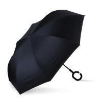 Payung Terbalik 12 WARNA LUAR unik (Tombol Merah) - Hitam Black