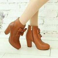Jual ls09 tan sepatu boot boots hak high heels heel wanita higheels higheel Murah