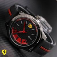 Jam Tangan Pria / Cowok Murah Ferrari Date Rubber Black Red