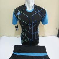 Setelan Futsal, Kostum Tim, Jersy Bola,Adidas, Hitam List Biru Muda