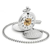 Skeleton Pocket Watch Mechanical Movement Hand Wind Double FullHu