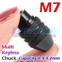 M7 x0.75 Multi Chuck Keyless Tanpa Collet utk Mini Grinder Bor Dremel