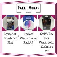 PAKET LYRA ART BRUSH SET FLAT +REEVES WATERCOLOUR PAD A4+ SAKURA KOI