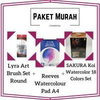 PAKET LYRA ART BRUSH SET ROUND + REEVES WATERCOLOR PAD A4 + SAKURA KOI