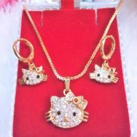 Set Hello Kitty (kalung + Anting) Xuping Perhiasan Lapis Emas