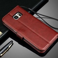 Leather Flip Cover Wallet Samsung Galaxy S7 Edge Case dompet kulit HP