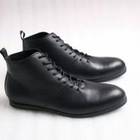 Jual Sepatu Kulit Pria Boston Milan Black | Sepatu Brodo |Sepatu Boots Murah