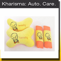 Jual Jual Car Set Sarung Seatbelt Bantal Mobil Kartun Tweety Kuning 2 in 1 Murah