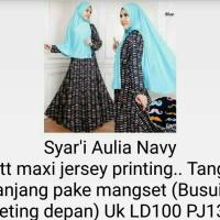 hijab setelan syarii gamis kaftan tunik brokat blouse aulia navy