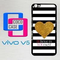 Casing Hardcase Hp Vivo V5 Stripes gold heart X4612