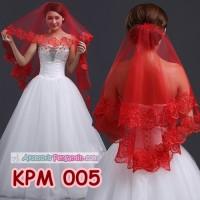 Kerudung Veil Pengantin Lace Wanita l Slayer Wedding Merah - KPM 005