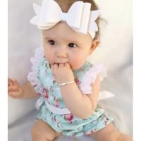 Jual Baju Bayi Romper Shabby Green Lace Flower Baby Jumpsuit Hijau Bunga Murah