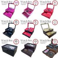 Jual [GRADE ORI] Watch Box / Kotak Tempat Jam Tangan Isi 12 Laci Perhiasan. Murah