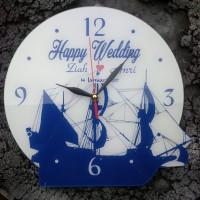 Kado Jam Dinding Pernikahan tema Kapal Laut Klasik Biru