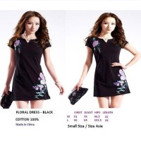 FLORAL DRESS - BLACK. COTTON 100%. Made in China