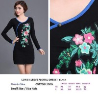 LONG SLEEVE FLORAL DRESS- BLACK. COTTON 100%. Made in China