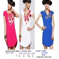 BASIC FLORAL DRESS - BLUE. COTTON 100%. Made in China