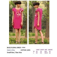 BASIC FLORAL DRESS - PINK. COTTON 100%. Made in China