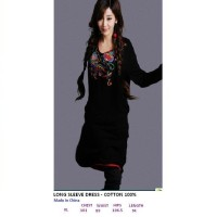 LONG SLEEVE DRESS - COTTON 100%. Made in China