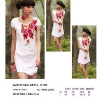 BASIC FLORAL DRESS - WHITE. COTTON 100%. Made in China