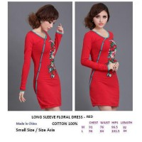 LONG SLEEVE FLORAL DRESS- RED. COTTON 100%. Made in China