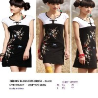 CHERRY BLOSSOMS DRESS - BLACK. EMBROIDERY. ELASTIC COTTON 100%