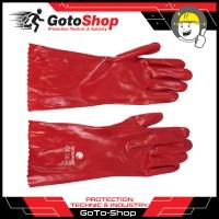 Sarung Tangan PVC Merah Kimia 14 Red PVC Gloves Chemical Karet 30 CM