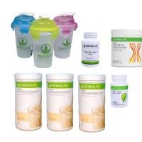 herbalife#----( 3 VANILA+ 1 CELL U LOSS + 1 FIBER + 1 PPP + 1 GELAS )