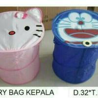 Laundry bag kepala karakter Doraemon Hello kitty