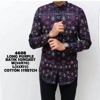 Jual baju kemeja pria | kemeja batik songket lengan panjang purple Murah