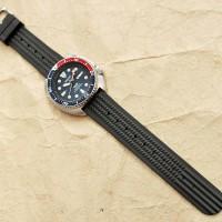 22mm Waffle rubber strap SEIKO 6105 diver black / hitam SKX007 6309