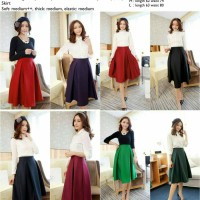 Rok flare skirt midi merah,hitam,hijau katun murah import cina korea