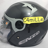 HELM INK ENZO SOLID GUN METAL ABU DOUBLE VISOR HALF FACE
