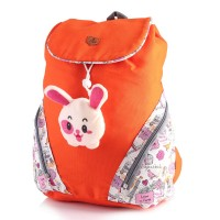 Jual Tas Ransel Anak SD Sekolah Perempuan / Backpack Cewek Orange Canvas Murah