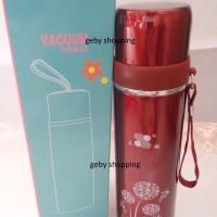 Vacuum Tumbler Red / Termos Stainless Steel Merah gambar Bunga / Pohon